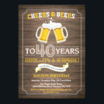 "Rustic Beer Surprise 40th Birthday Invitation<br><div class=""desc"">Cheers and Beers Surprise 40th Birthday Invitation Card with rustic wood background. For further customization,  please click the ""Customize it"" button and use our design tool to modify this template.</div>"