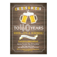 Rustic Beer Surprise 40th Birthday Invitation