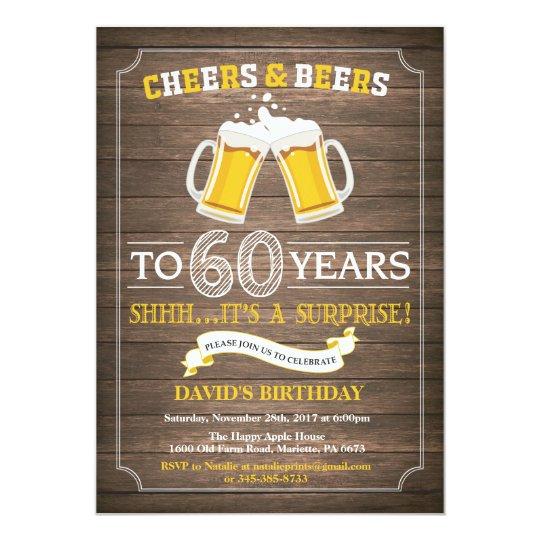 Rustic Beer Surprise 60th Birthday Invitation Zazzlecom