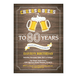 Rustic Beer Surprise 80th Birthday Invitation