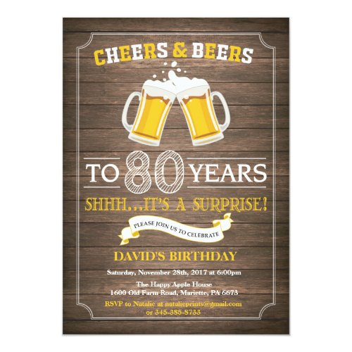 Surprise 80th Birthday Cheers & Beers Invitations
