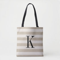 Rustic Beige and Ivory Stripes Large Monogram Tote Bag