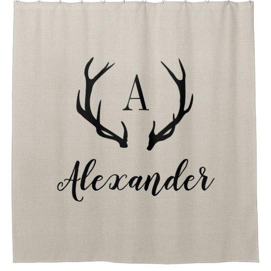 Rustic Beige Antler Monogram | Farmhouse Bathroom Shower Curtain