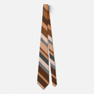 Rustic Beige, Brown and Gray Stripes Tie
