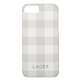 Rustic Beige Buffalo Check Monogram iPhone 8/7 Case