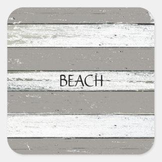 Rustic Beige Driftwood Square Sticker
