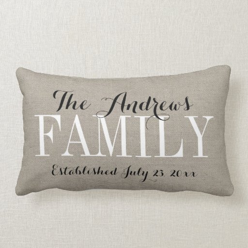 Rustic Beige Family Monogram and Wedding Date Lumbar Pillow