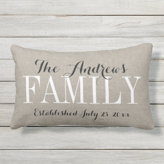 Rustic Beige Family Monogram and Wedding Date Outdoor Pillow