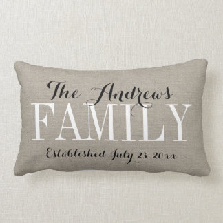 Rustic Beige Family Monogram and Wedding Date Pillow
