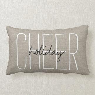 Rustic Beige Holiday Cheer Lumbar Pillow