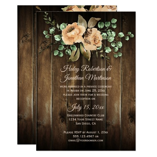 Rustic Beige Latte Roses Barn Wood Reception Only Invitation
