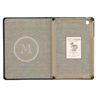 Rustic Beige Linen Background Monogram iPad Mini Retina Cases