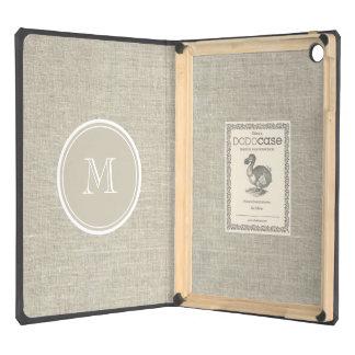 Rustic Beige Linen Background Monogram Case For iPad Air