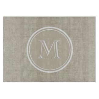 Rustic Beige Linen Background Monogram Cutting Board