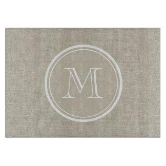 Rustic Beige Linen Background Monogram Cutting Board