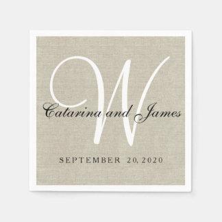 Rustic Beige Linen Monogram Wedding Paper Napkins