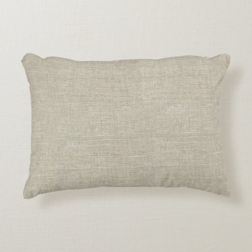 Rustic Beige Linen Printed Accent Pillow
