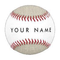 Rustic Beige Linen Printed Baseball