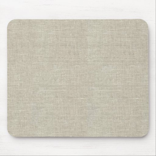 Rustic Beige Linen Printed Mousepad