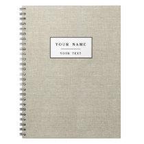 Rustic Beige Linen Printed Notebook