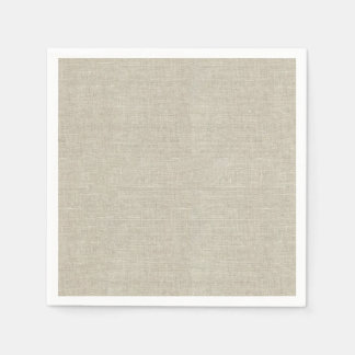 Rustic Beige Linen Printed Paper Napkin