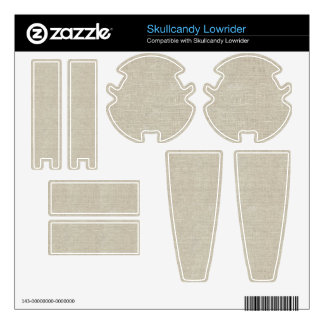 Rustic Beige Linen Printed Skullcandy Skins