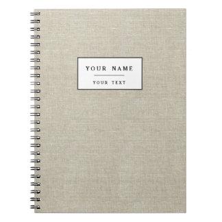 Rustic Beige Linen Printed Spiral Notebook