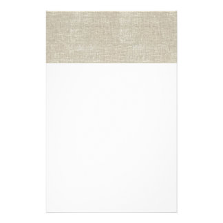 Rustic Beige Linen Printed Personalized Stationery