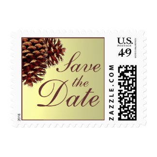 Rustic beige pine cone Save the Date stamps