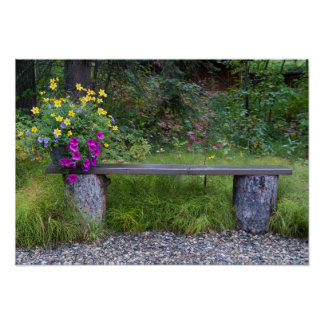 Rustic Bench And Flower Bucket Photograph Poster
