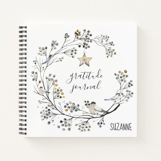 Rustic Berry Wreath Chickadees Gratitude Journal