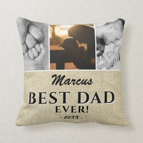 Rustic Best Dad Ever Fathers Day 3 Photo Collage Throw Pillow