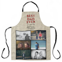 Rustic Best Dad Ever Father`s Day 6 Photo Collage Apron