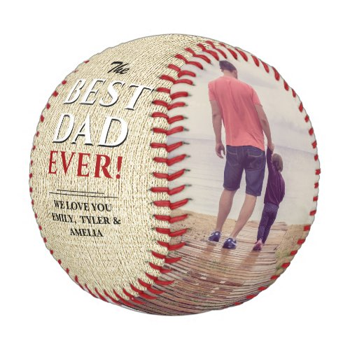 Rustic Best Dad Ever Fathers Day Photo Collage Baseball