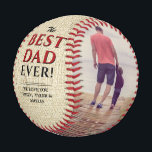 """Rustic Best Dad Ever Father`s Day Photo Collage Baseball<br><div class=""""desc"""">Rustic Best Dad Ever Father`s Day Two Photo Collage Baseball. This modern custom and personalized baseball is a perfect gift for a dad or a new dad on a father`s day. The best dad ever two photo template baseball. Personalize it with two photos and names. The background is rustic beige...</div>"""