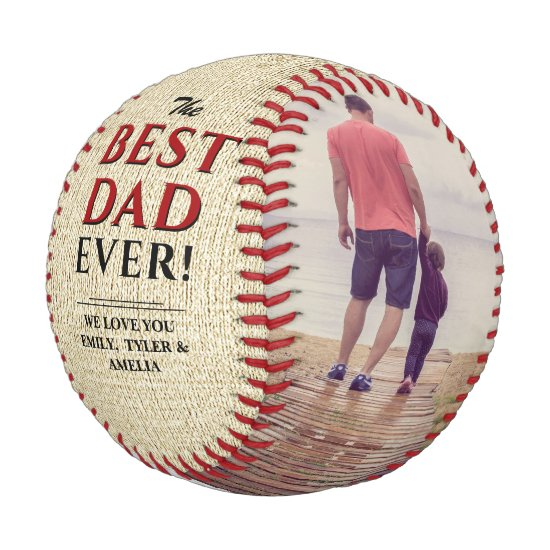 Rustic Best Dad Ever Father`s Day Photo Collage Baseball