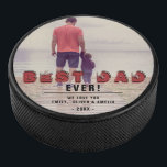 "Rustic Best Dad Ever Modern Typography Full Photo Hockey Puck<br><div class=""desc"">Rustic Best Dad Ever Modern Typography Full Photo Hockey Puck. The text is a trendy black and red typography and overlays the full photo. Add your favorite photo and personalize the sweet message with your names and year. This modern custom and personalized hockey puck is a perfect keepsake gift for...</div>"
