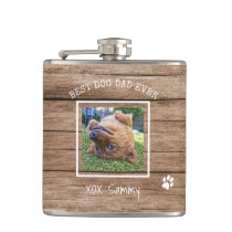 Rustic Best Dog Dad Ever Photo Personalized Flask