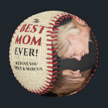 """Rustic Best Mom Ever Mother`s Day Photo Collage Baseball<br><div class=""""desc"""">Rustic Best Mom Ever Mother`s Day Two Photo Collage Baseball. This modern custom and personalized baseball is a perfect gift for a mom on a mother`s day. The best mom ever two photo template baseball. Personalize it with two photos and names. The background is rustic beige texture and the text...</div>"""