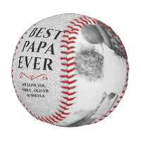 Rustic Best Papa Ever Father`s Day 2 Photo Collage Baseball