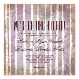 Rustic Birch Aspen Trees Fall Wedding Invitations 5.25
