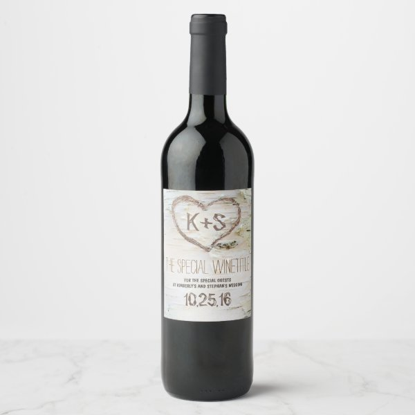 Rustic Birch Bark Heart Carving Wine Label