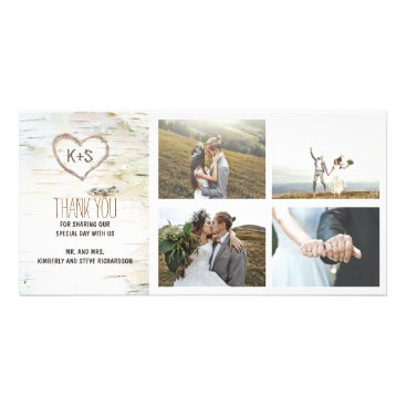 Valentines Themed Rustic Birch Bark Heart Wedding Thank You Card