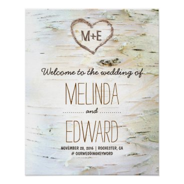 Valentines Themed Rustic Birch Bark Heart Wedding Welcome Sign