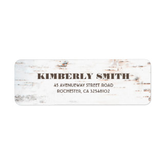 Rustic Birch Bark Texture Fall Wedding Label