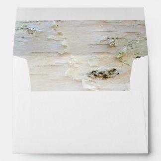 Rustic Birch Bark Wooden Texture Inside Wedding Envelope