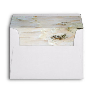 Rustic Birch Bark Wooden Texture Inside Wedding Envelope