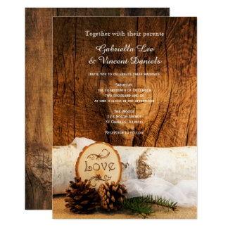 Rustic Birch Tree and Barn Wood Wedding Invitation
