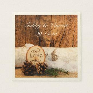 Rustic Birch Tree and Barn Wood Wedding Paper Napkin