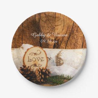 Rustic Birch Tree and Barn Wood Wedding Paper Plate